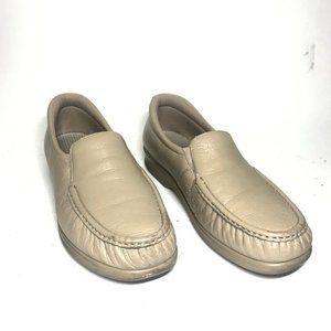 SAS Womens Comfort Flat Shoes Beige Moc Toe Slip